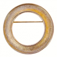 Vintage Gold Plated Circle Brooch by Trifari